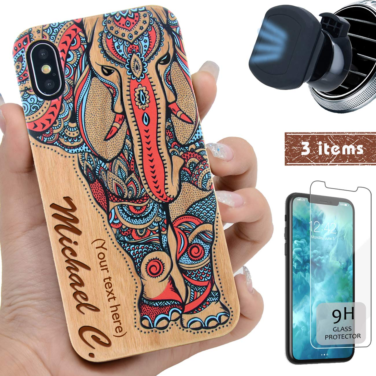 """iProductsUS Wood Phone Case Compatible with iPhone XS MAX,Magnetic Mount & Screen Protector-3D UV Print Color Elephant, Engrave Name,Compatible Wireless Charger,TPU & Metal Plate Built-in Covers(6.5"""")"""
