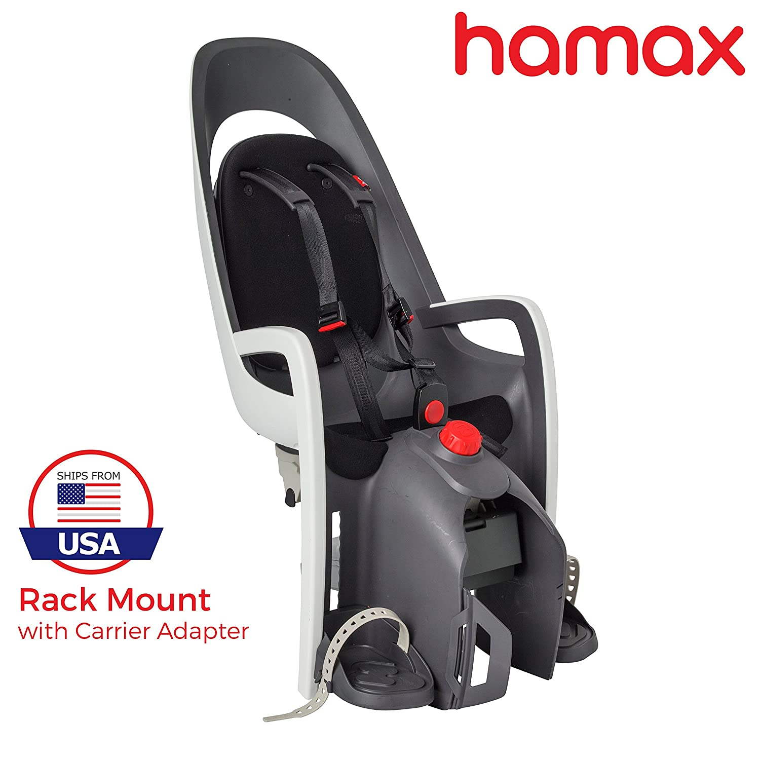 Hamax Caress Child Bike Seat, Ultra-Shock Absorbing Frame or Rack Rear Mount