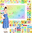 Apsung Aqua Doodle Mat 120 x 90cm Large Water Drawing Painting Mat Mess Free Learning Toys for 2 3 4 5 6 Years Old Boys Girls Toddlers Birthday Gift with 4 Magic Pens, Stamp Set