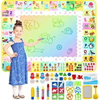 Apsung Aqua Doodle Mat 120 x 90cm Large Water Drawing Painting Mat Mess Free Learning Toys for 2 3 4 5 6 Years Old Boys…