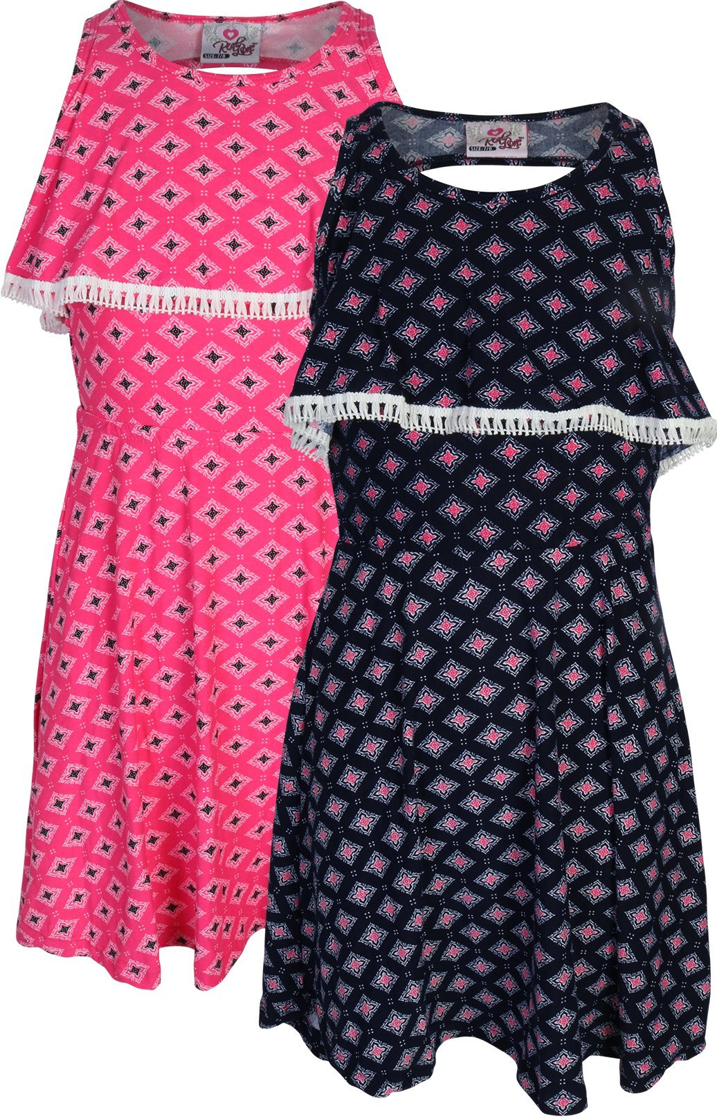 Real Love Girl's Printed Yummy Summer Dress (2 Pack), Diamond, Size 7/8'