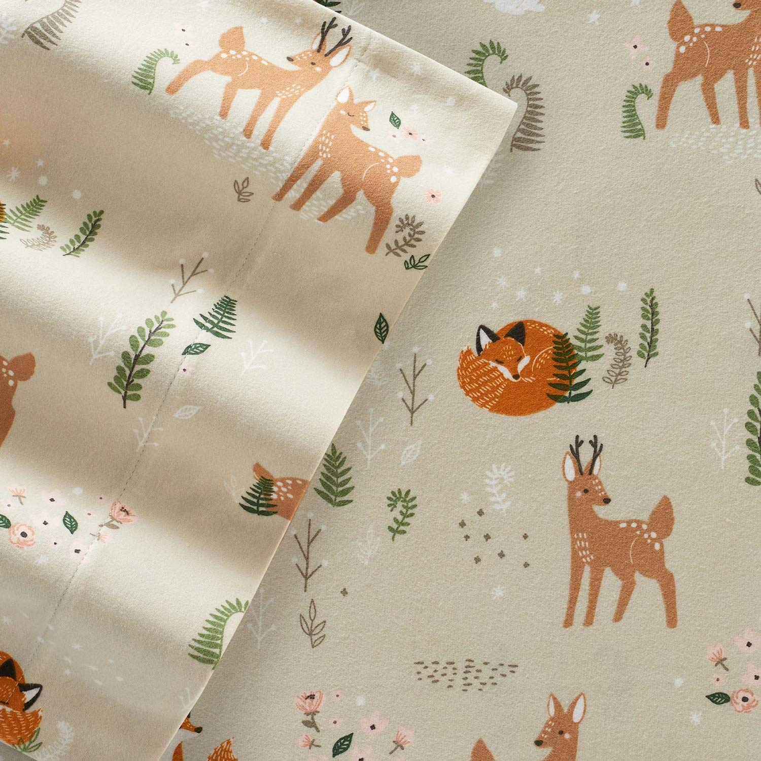 Cuddl Duds Twin Size Flannel Sheet Set Forest Critters Amazon In Home Kitchen