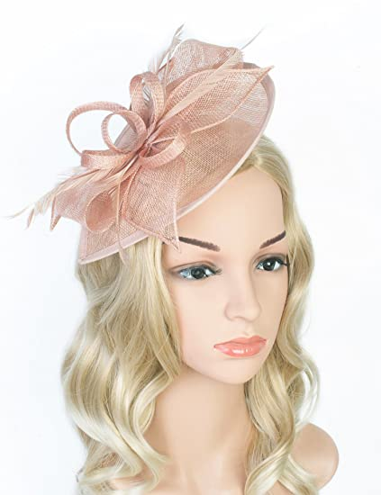 fac77a15c76 Z  X Sinamay Fascinator Pillbox Hat with Headband Hair Clip For Cocktail  Tea Party Pink