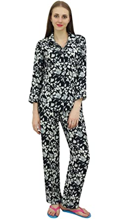 55b30a7d9e Bimba Black Button-Down Shirt with Elastic Waist Pajama Printed Night Wear  Set-8