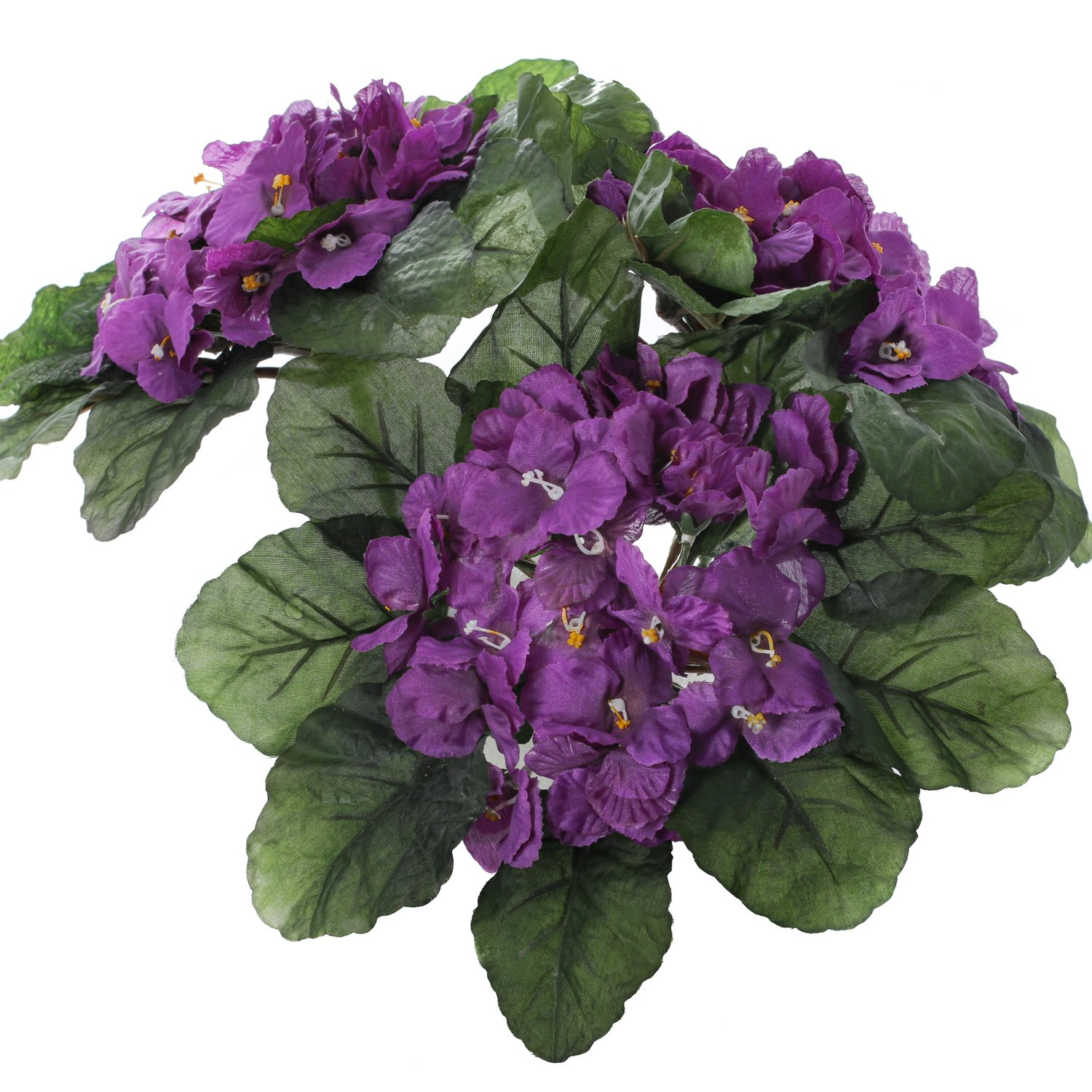 Amazon Purple African Violet Artificial Silk Flower Bushes 3