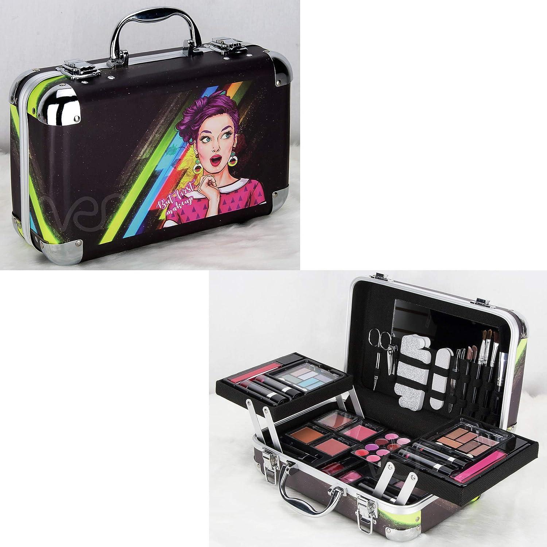 Ver Beauty 61pcs Makeup Gift Set Kit Train Case Eyeshadow Blush Lipstick Nail Polish With Mirror - Vmk1506