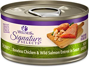 Wellness Core Signature Selects Natural Canned Grain Free Wet Cat Food Chunky Chicken & Salmon