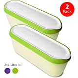 SUMO Ice Cream Containers • Insulated Ice Cream Tub • Container Ideal for Homemade Ice-Cream, Gelato or Sorbet • Dishwasher Safe • 1.5 Quart Capacity • [Green, 2-Pack]