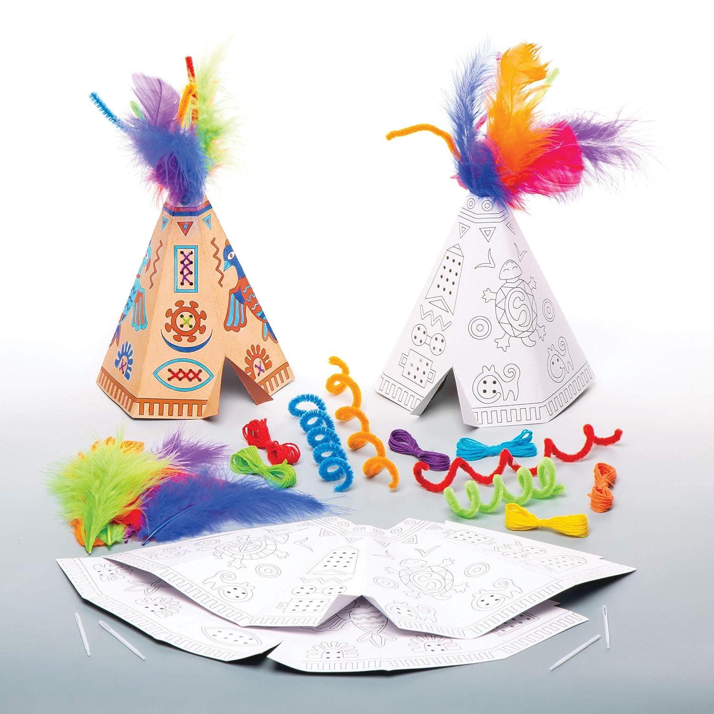 para proyectos de arte y manualidades para ni/ños paquete de 4 Baker Ross Kits Placas de Madera Punto de Cruz AT810 surtidos