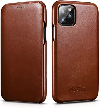 ICARERCASE Folio Flip PU Leather Wallet Cover with Kickstand and Credit Slots for iPhone 11 Pro Max 6.5 inch 2019 Release Brown iPhone 11 Pro Max Leather Case