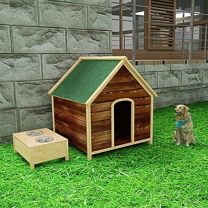 LDFN Caseta De Madera Maciza Carbonizada Al Aire Libre Sala De Perros A Prueba De Agua