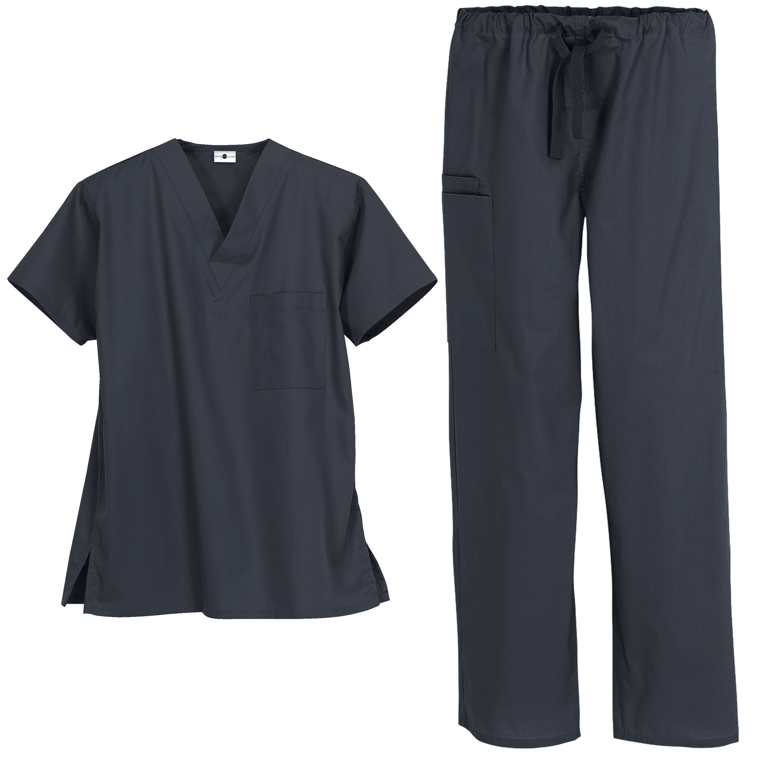 Unisex Medical Uniform Scrub Set – Includes V-Neck Top Drawstring Pant (XS-3X, 13 Colors) (X-Small, Pewter)