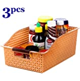 INOVERA (LABEL) Fridge Space Saver Food Storage Organiser Basket Kitchen Rack(Set of 3), 29L x 20B x 12.5H cm.