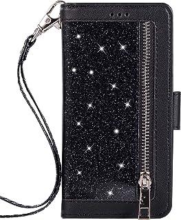 SainCat Custodia Portafoglio Pelle con Cerniera Bling Bling Glitter Antiurto Book Styke Flip Wallet Case Funzione di Staffa Cover Compatibile con iPhone X/XS-Rosso