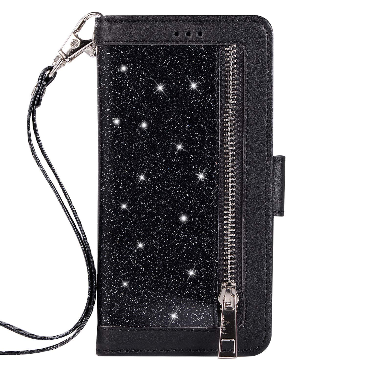 Herbests Compatible with Huawei Mate 20 Wallet Case Zipper Luxury Bling Glitter Shockproof Protective Leather Flip Cover 9 Card Slots Magnetic Phone Cover & Strap Kickstand,Black by Herbests