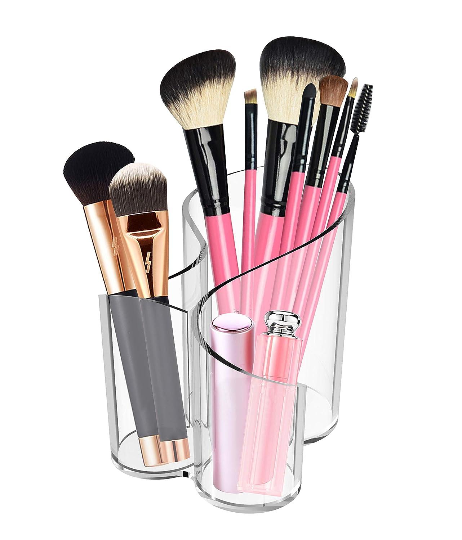 CAXXA Acrylic Makeup Brush Holder Handmade, 3 Compartment Desk Organizer Desktop Clear Cosmetics Organizer Lipstick Organizer (Clear)