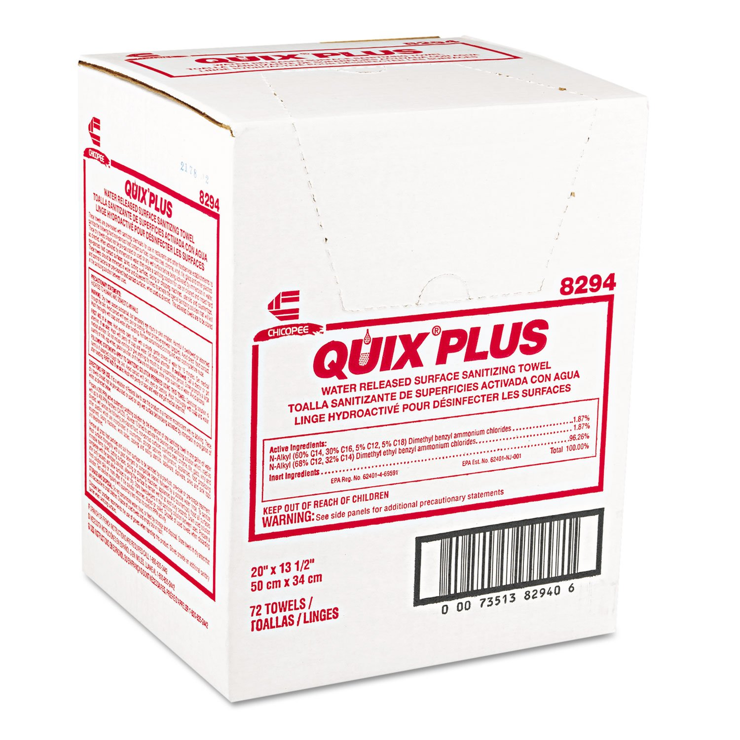 Chicopee 8294 Quix Plus Cloth Food Service Towel, Disinfectant Concentrate, 13.5