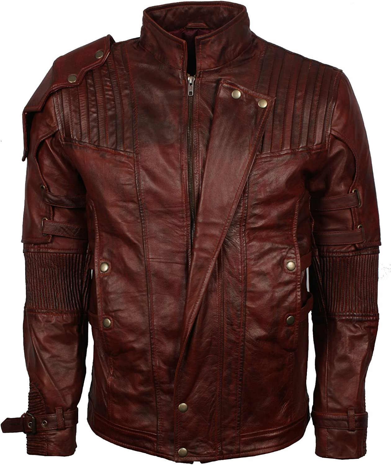 Biker Jackets Costumes Brown Waxed Mens Vintage Quilted Style Jacket