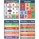 4 ASL Sign Language Posters - Sign Language for Kids Pack Includes: Months of the Year, Days of the Week, Color Chart and Wea