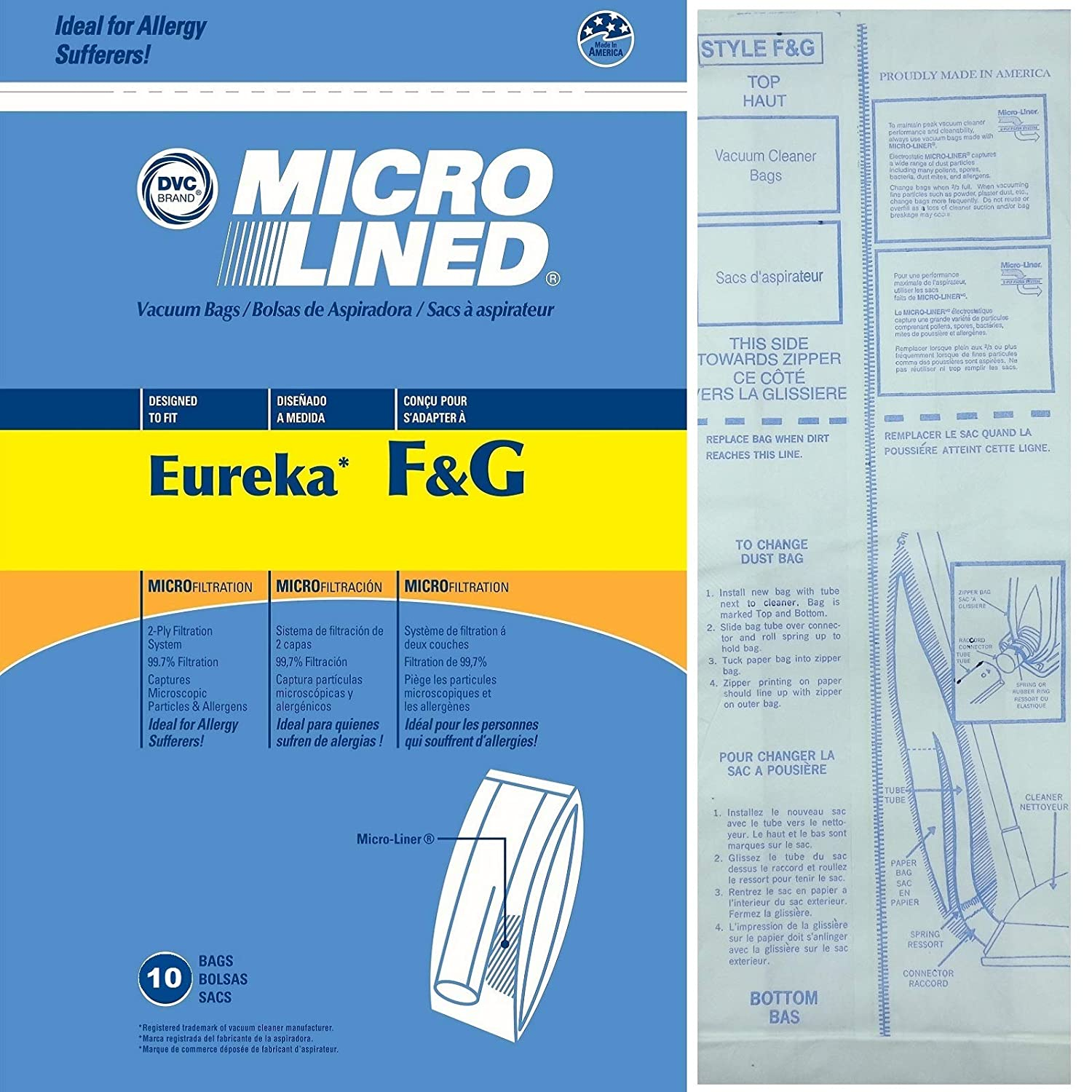 10 Allergy Bags for Eureka Style F&G Vacuum Cleaner F G Sanitaire Commercial