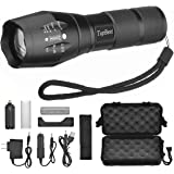 LED Tactical Flashlight, TopBest Portable Ultra Flashlight Adjustable Focus and 5 Light Modes,1200 Lumen Outdoor Water Resistant Handheld Torch and Rechargeable 18650 Lithium Ion Battery and Charger
