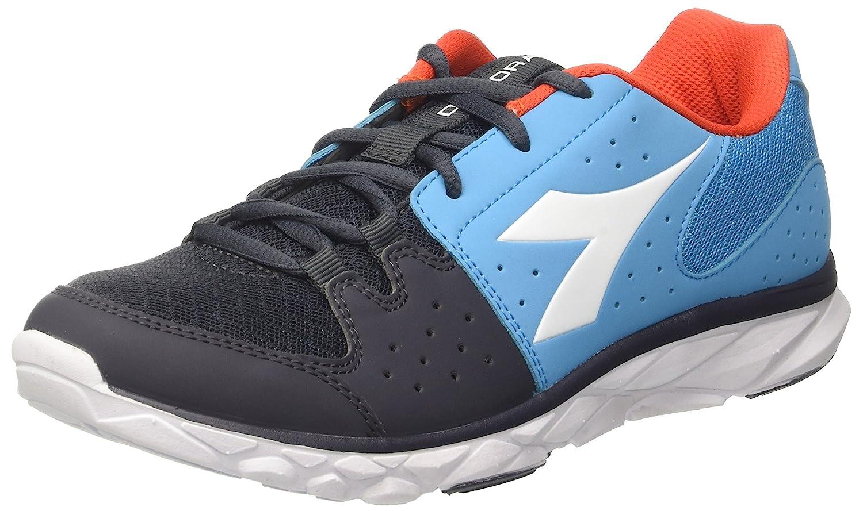Diadora Hawk 7, Zapatos para Correr para Hombre 45 EU|Azul (Blu Fluo/Arancio Fluo)