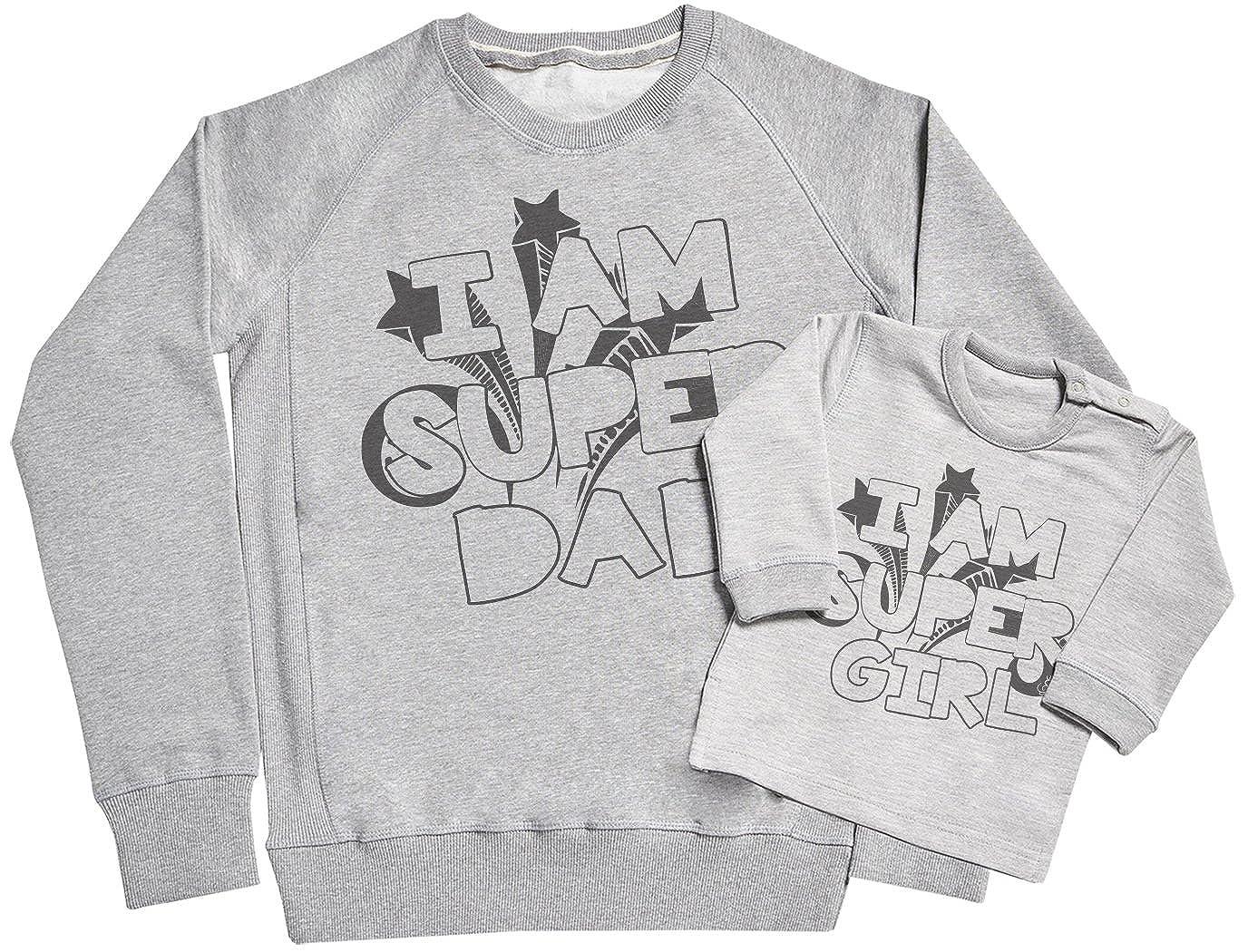 Spoilt Rotten Sweaters Sr Padre Su/éter /& Beb/é Su/éter I Am Super Dad /& I Am Super Girl Conjunto de Regalo Para Padres y Beb/és