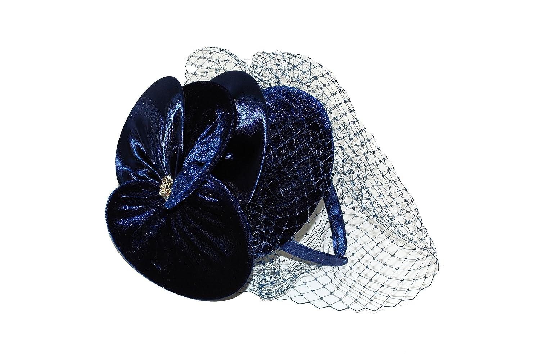 GIZZY® Ladies Navy Blue Velvet Pillbox Fascinator with Velvet   Satin  Flower   Veil on Headband.  Amazon.co.uk  Clothing 04c45d57556