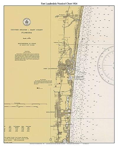 Fort Lauderdale Map Florida.Amazon Com Fort Lauderdale 1934 Nautical Map Florida Custom