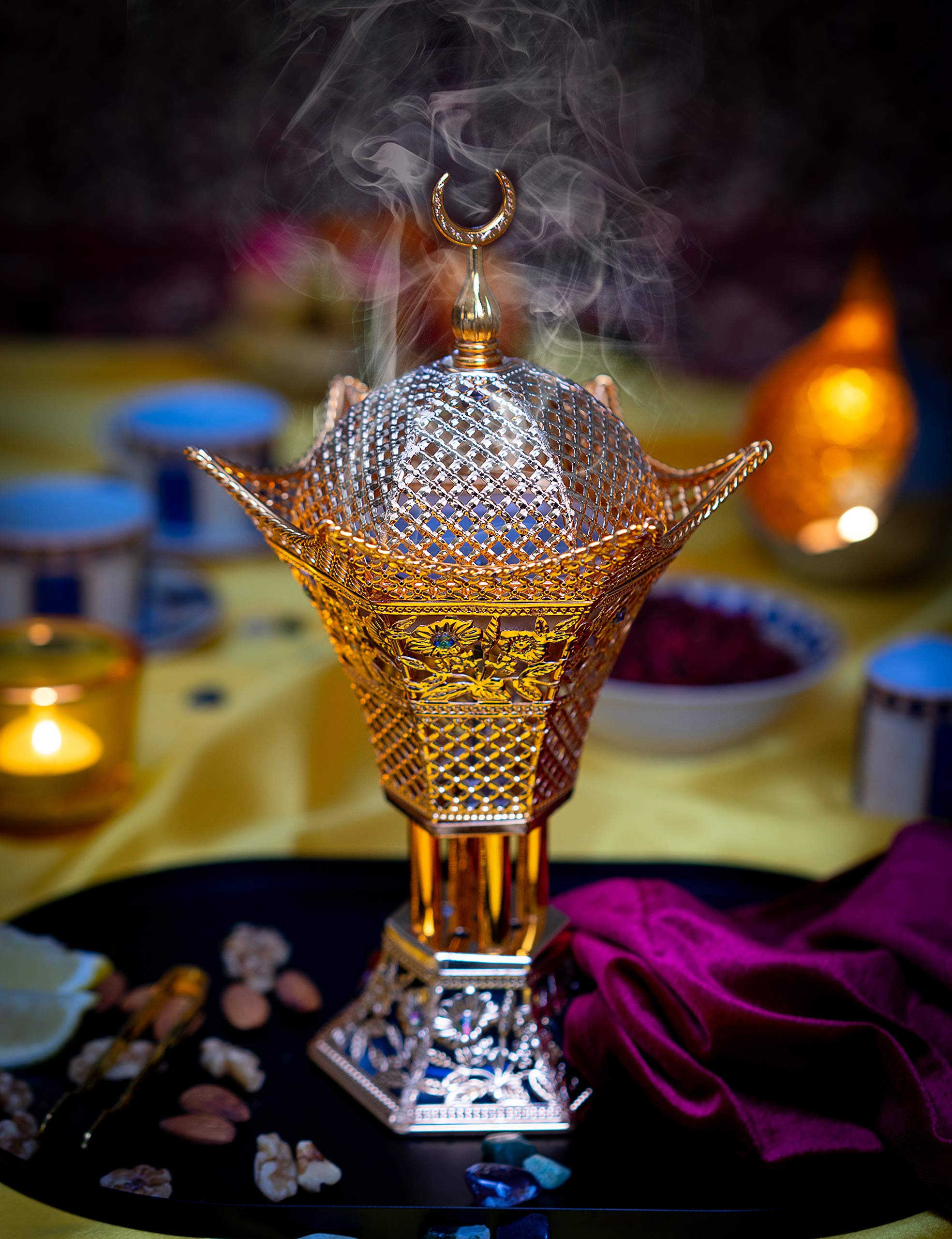 AM Bakhoor Charcoal Incense Burner - Oud Frankincense Resin Burner 10.5 Inches Tall - for Bakhoor Oud Incense Sticks Cones - Luxury Filigree, Gold by AM (Image #2)