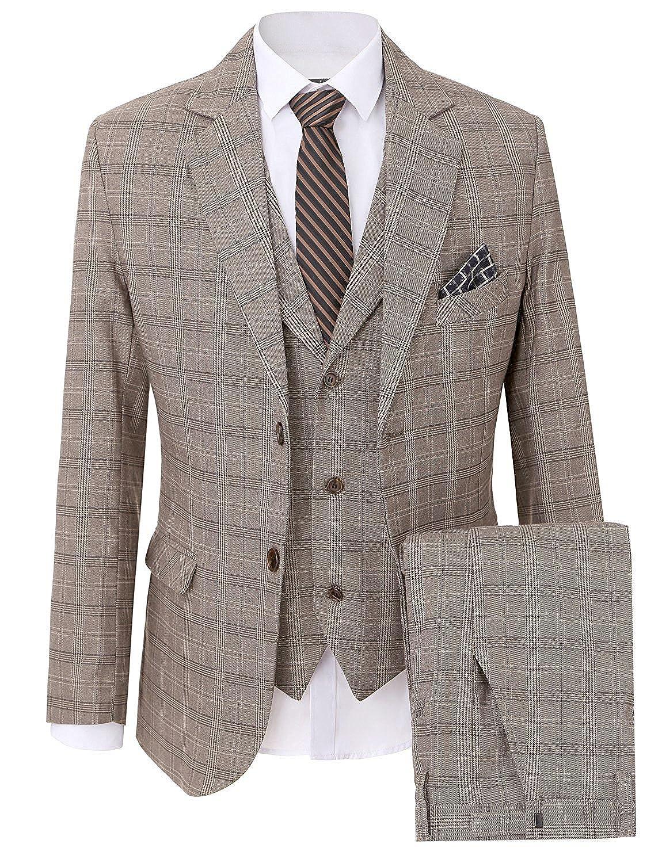 JYDress Men's Suit Plaid 3-Piece Suit Center Vent Blazer Jacket Tux Vest & Trousers MS18022401