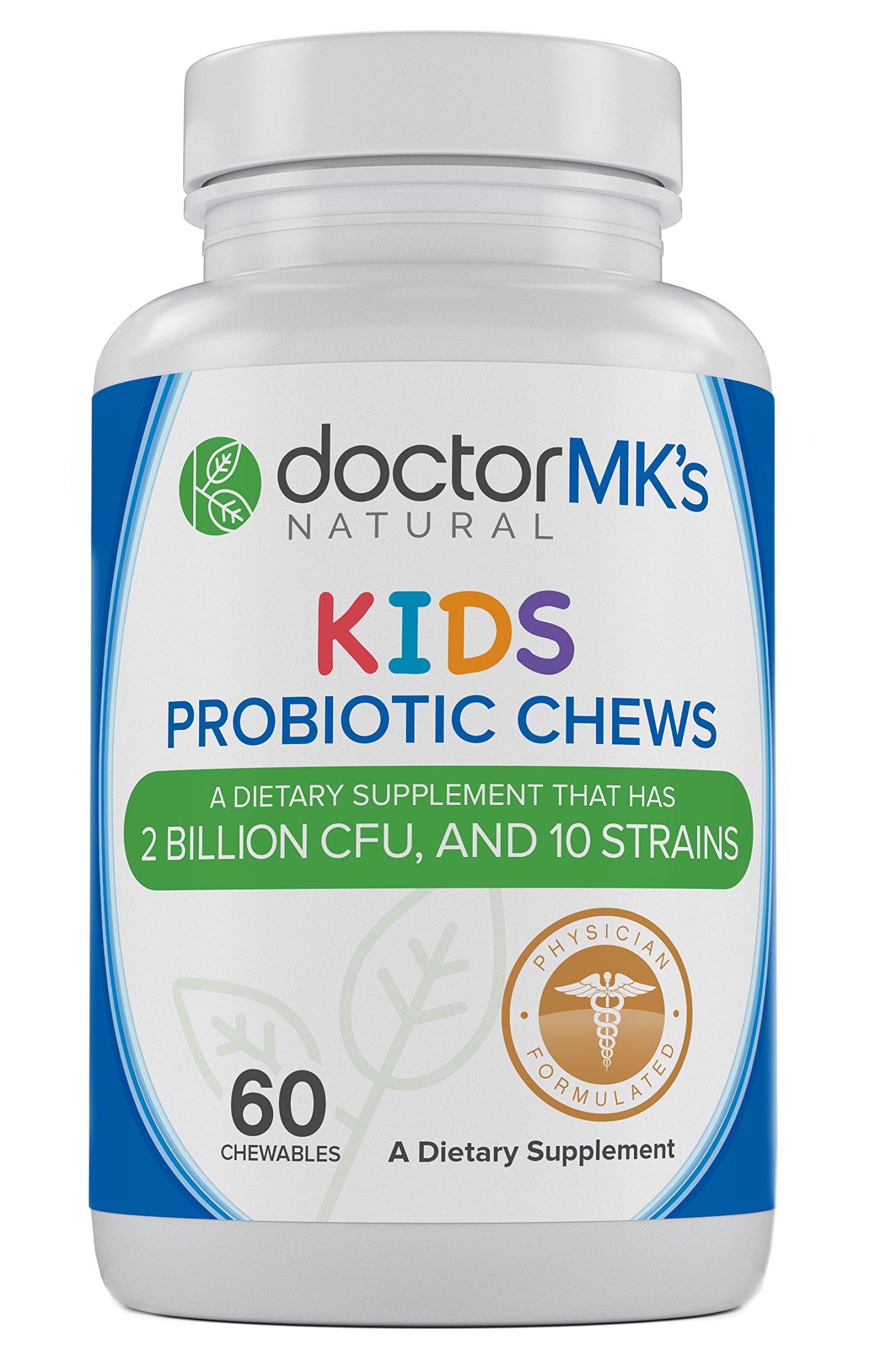 Kids Probiotics Chewable by Doctor MK's, Sugar Free Animal Shapes, Tastes Like Candy, Natural Wild Berry Tablets, Vegetarian/Vegan