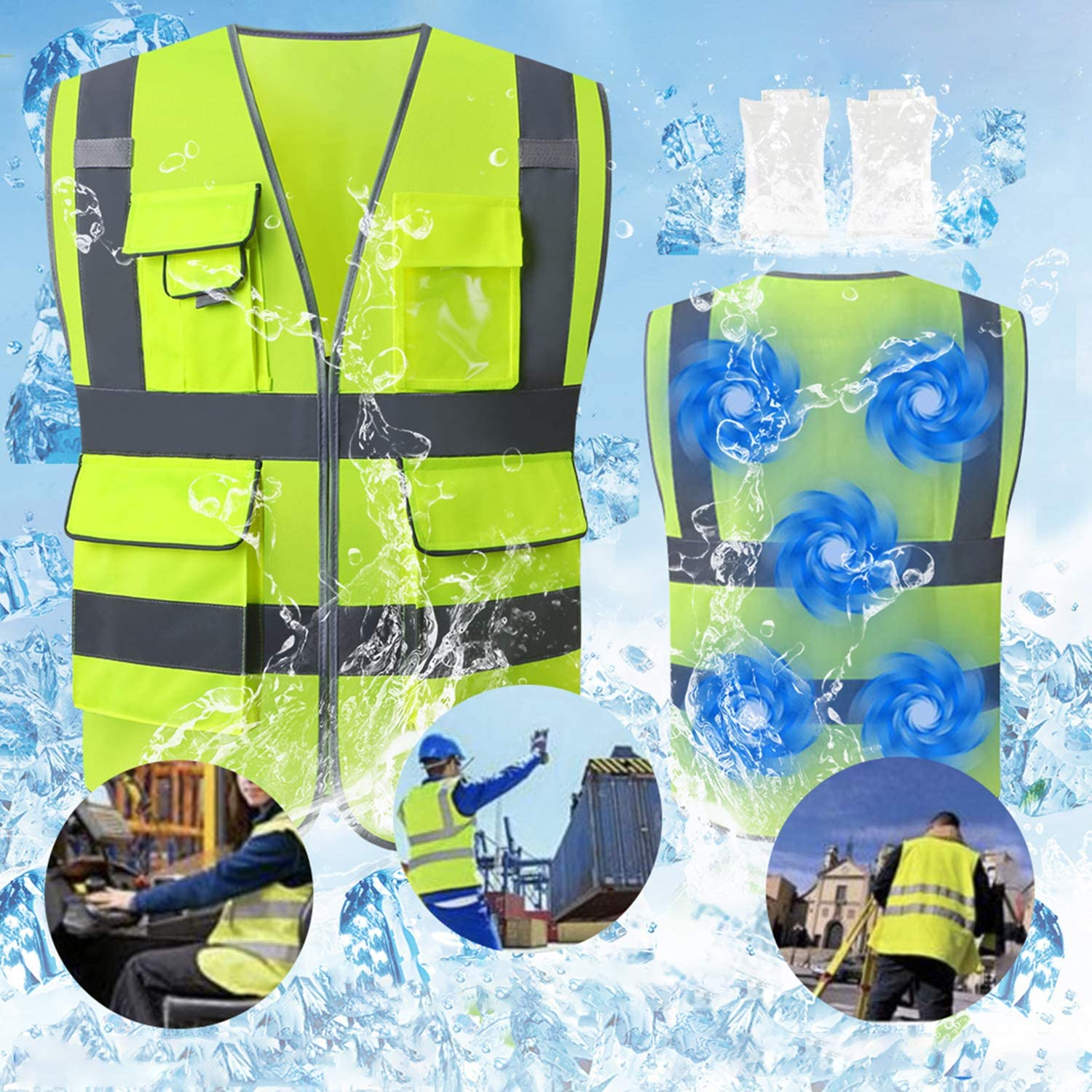 Tekware Reflective Safety Vest, High Visibility Velcro Construction Cooling Vests with Ice Bags and Pockets, Ideal Work Vest for Men and Women, ANSI/ISEA Standards, One Size Fits Most