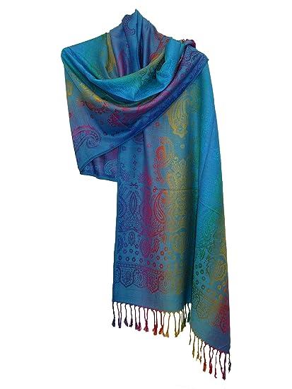 Etole écharpe Pashmina et Soie - Motifs Arabesque Cachemire  Amazon.fr   Vêtements et accessoires 606f75e1d13
