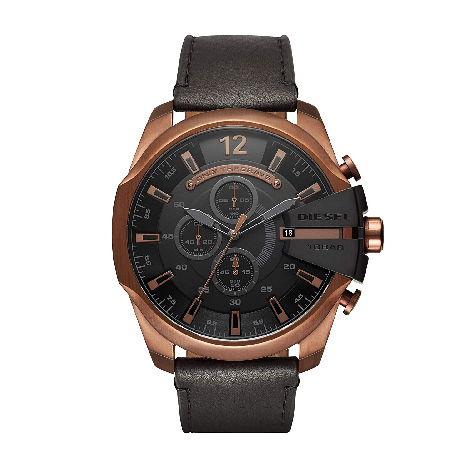 a7243263d Amazon.com: Diesel Men's Mega Chief Quartz Stainless Steel and Leather  Chronograph Watch, Color: Rose Gold-Tone, Black (Model: DZ4459): Diesel:  Watches