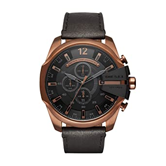 afd57b16a Image Unavailable. Image not available for. Color: Diesel Men's Mega Chief  Quartz Stainless Steel and Leather Chronograph Watch, Color: Rose Gold