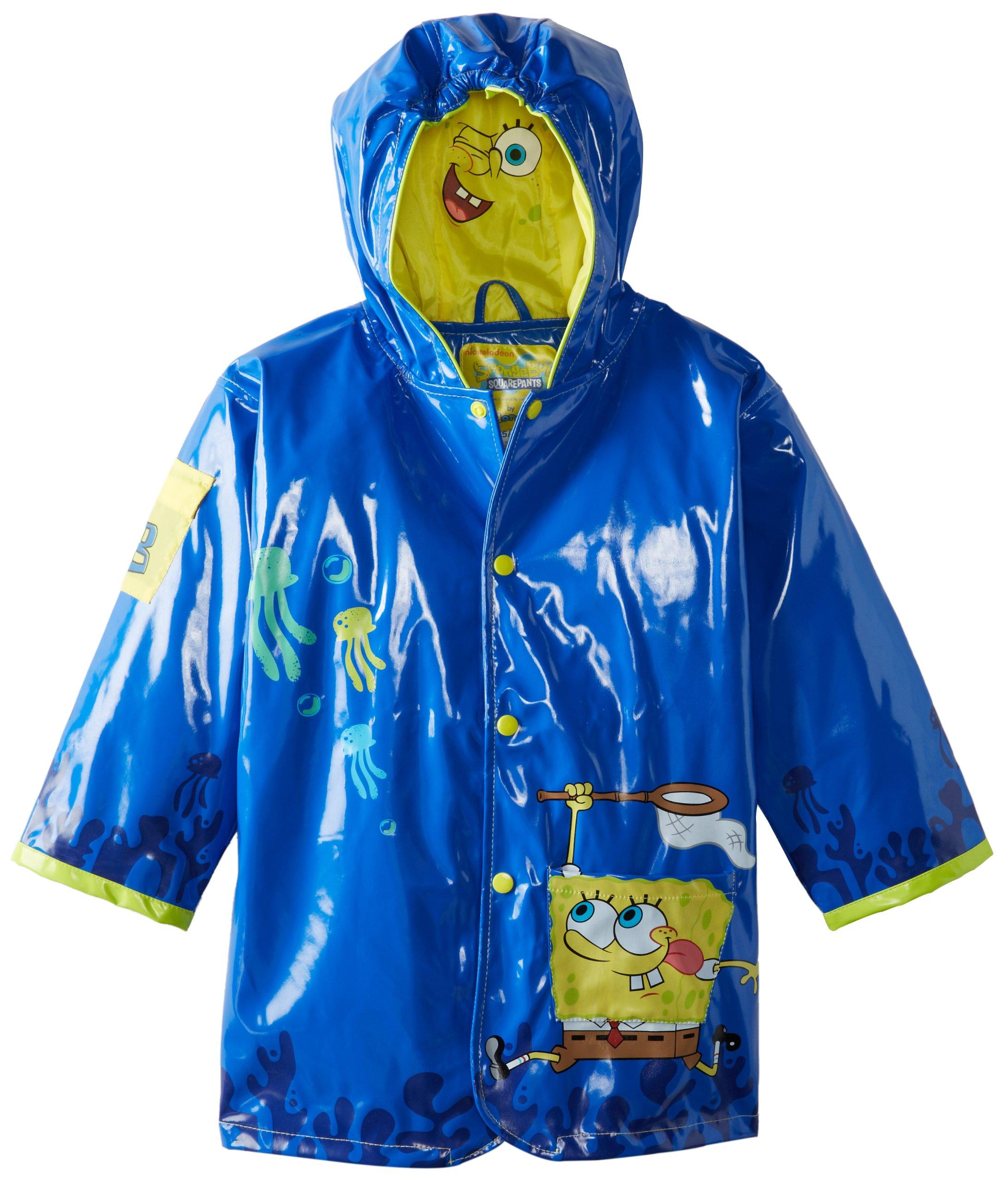 Nickelodeon Little Boys' SpongeBob Rain Coat, Blue, Size 5/6