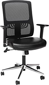 OFM Essentials Collection Mid Back Mesh Back with Leather Seat Office Chair, Lumbar Support, in Black/Chrome