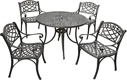Crosley Furniture Sedona 5 Piece Solid Cast Aluminum Outdoor Dining Set  With 42