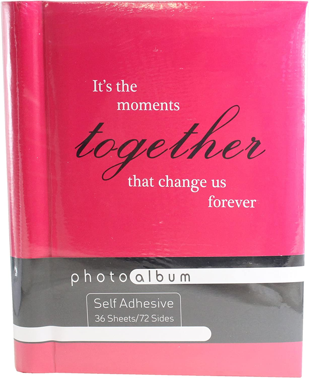 Self Adhesive Photo Album with Slogan 36 Pages Spiral Bound Pink