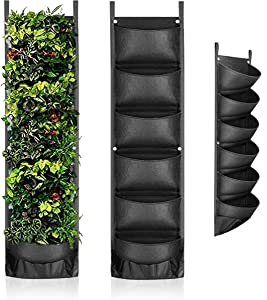 Vertical Garden Wall Planter with 7 Big Pockets - Made of Eco Friendly and Thick Felt Material for Growing Flowers, Veggies and Herb for Indoor & Outdoor Vertical Hanging Planter