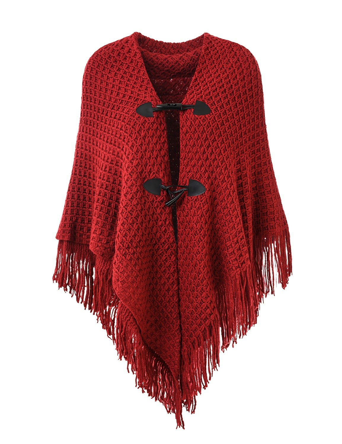 Ferand Women's Loose Fitting Poncho Cape Shawl with Stylish Horn Buttons, V Neckline and V Hem, Burgundy (Larger & Thicker Style)
