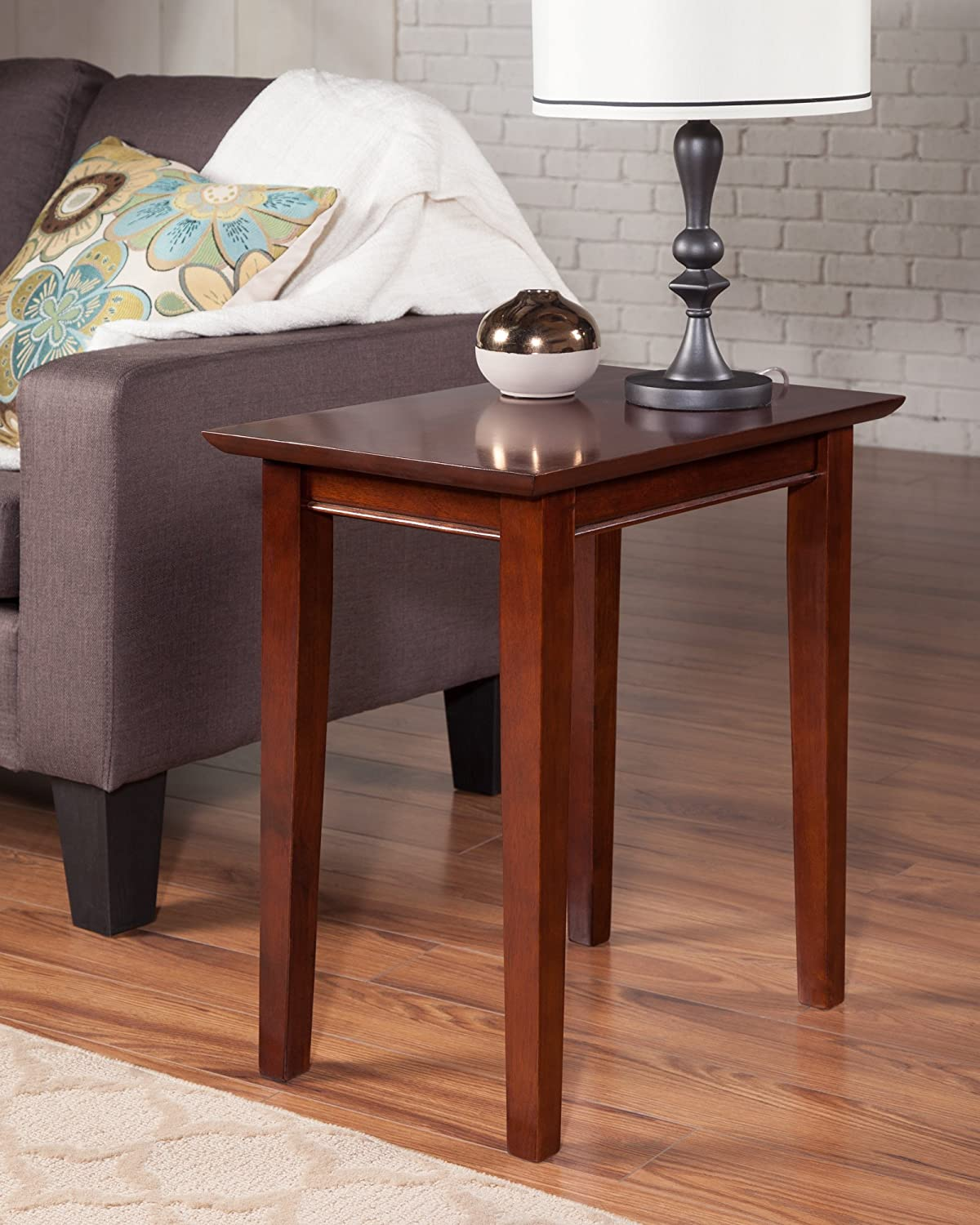 Atlantic Furniture AH13104 Shaker Side Table Rubber Wood Walnut