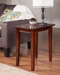 Atlantic Furniture AH13104 Shaker Side Table Rubber Wood Walnut