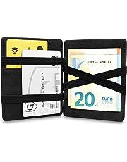 GenTo® Magic Wallet Vegas - TÜV geprüfter RFID, NFC Schutz - Dünne Geldbörse mit Münzfach - Geschenk für Damen und Herren mit Geschenkbox - erhältlich in 8 Farben | Design Germany (Schwarz Soft)