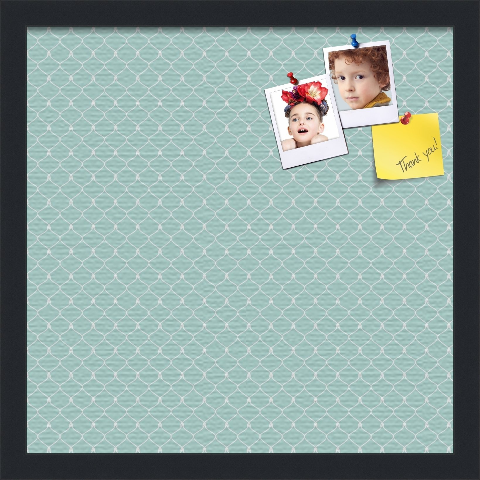 PinPix custom printed pin cork bulletin board made from canvas, 571 16 x 16 Inches (Completed Size) and framed in Satin Black (PinPix-571)