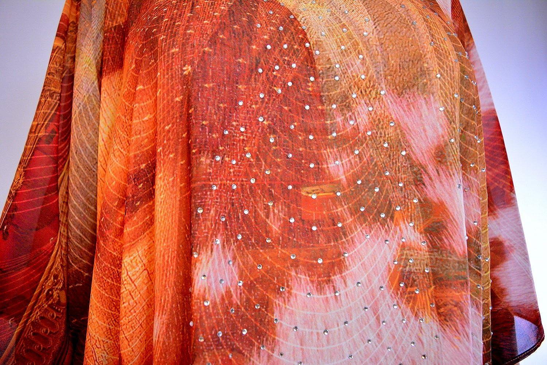 Devarshy Elegant Mona Lisa Design Pure Silk Embellished Short Designer Kaftan Red Brown