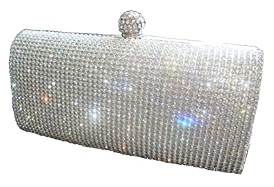 1553511befcf78 Shimmering Silver Diamante Encrusted Evening bag Clutch Purse Party Bridal  Prom