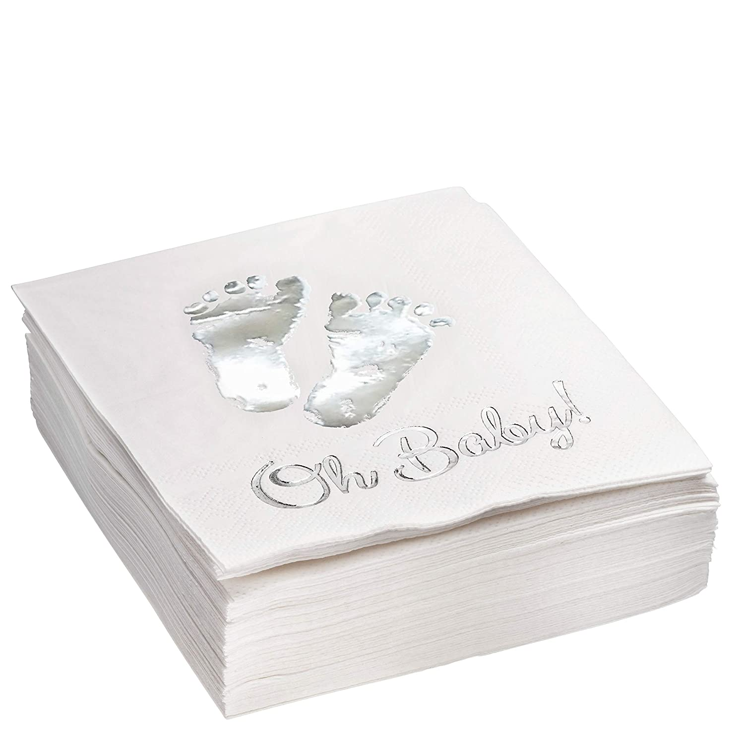 Burnished Silver OH BABY Metallic Foil-Stamped Feet Beverage Napkins, 5x5 Inch, pack of 50, 3-Ply – Gender Reveal – Baby Shower – Homecoming Party Décor