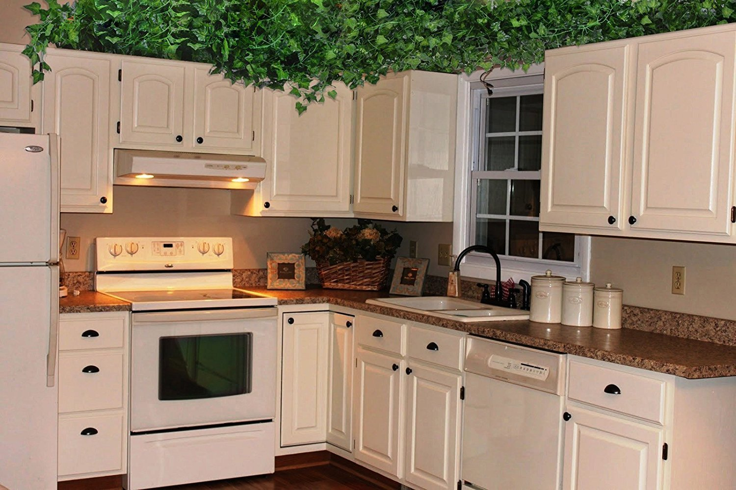 TopSZ Fake Hanging Plants Greenery Garland for Home Wedding Office Garden Wall Decoration 81-Feet TopSF 12 Pack Artificial Vine Leaves Scindapsus Aureus